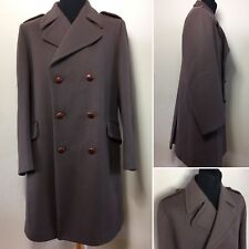 """Shannon Wales Vintage 100% Wool Brown Military Trench Coat 41"""" Large Heavy 2kg"""