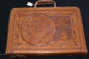 """Vintage 1970's Deadstock Mexican Leather Briefcase 14 """" L  X  10"""" H X 2"""" Depth"""