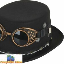 STEAMPUNK TOP HAT WITH GEARS RETRO BRONZE adults mens fancy dress accessory