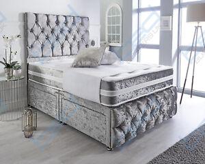LUXURY CRUSHED VELVET BED + MEMORY MATTRESS + HEADBOARD 3FT 4FT 4FT6 Double 5FT