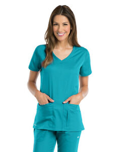Grey's Anatomy Active Scrubs Women's 4 Pockets Solid Side Panel V-Neck Top