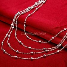 Fashion Women 925 Silver Statement Multilayer Beads Jewelry Necklace Chain