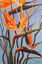 Original Large Oil Painting 2000-Now - Birds of Paradise (i), Artist, Floral