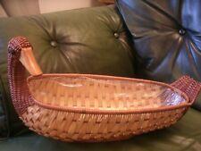"Duck Long Wicker Basket Great storage/Display - Length 15"" Width 6""- Lined inner"