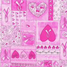 Pink Ribbon Breast Cancer Love Hearts Quilt Fabric FQ or Metre *New*