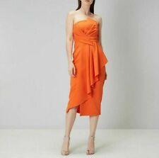 Coast Katie Bandeau Orange Dress Strapless Size 10