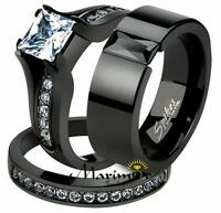 His & Hers 3Pc Black Ion Plated Stainless Steel Wedding Engagement Ring Band Set