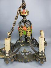 🔥 L👀K Antique 1920's Spanish Revival 5 Light Socket Candle Style Chandelier
