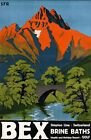 "Vintage Illustrated Travel Poster CANVAS PRINT Bex Switzerland 24""X16"""