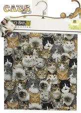 "UNIQUE CAT Fabric Material COTTON 55"" EXTRA WIDE CATS LOVER Design Print"