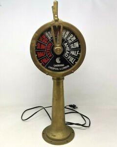 VTG Antique Chadburns Liverpool & London Brass Ship Telegraph Lamp Works CF21