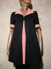 CHIC VINTAGE MINI ROBE TUNIQUE JERSEY 60s VTG DRESS 60s MOD TWIGGY NAVY (36/38)