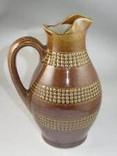 Retro Studio Pottery Stoneware Jug 2 Pints Relief Band Pattern Brown Glaze