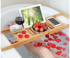 Perfect Relaxing Bamboo Bath Caddy Tray W/ Book/iPad Holder + Wine Glass Slot