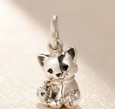CAT KITTEN SILVER CHARM  LOVELY ON A BRACELET HEART LIMITED QTY! GENUINE BARGAIN