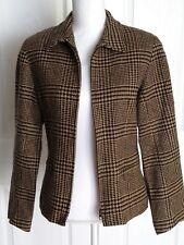 Women's Jones & Co brown/black herringbone long skeeve zip up blazer sz 8