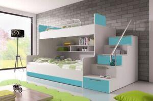 Hochbett MAJA 2 Kinderbett mit 2 Schlafgelegenheiten Etagenbett