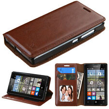 For Microsoft LUMIA 435 Brown Leather Flip Wallet Case Cell Phone Cover Stand