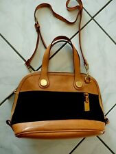 Vintage Dooney & Bourke Black Tan Leather Handbag w Strap EUC