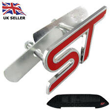FORD FOCUS FIESTA MONDEO ST RED LOGO GRILLE BADGE EMBLEM METAL WITH FITTING KIT