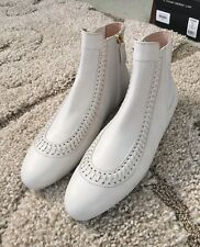 NEW✨TODS IVORY WOVEN LEATHER FLAT SIDE ZIP GOMMINI ANKLE BOOTS-39✨$745✨✨