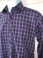 Jared Lang Sz SMALL Button Up Shirt Purple Plaid L/S Spread Collar EUC