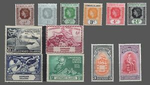 Leeward Islands  #126-131,133-137,142 MH  UPU-University Issues-QE II 1949-51-54