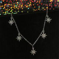 Elegant Women Rhinestone Star Pendant Stainless Steel Chain Necklace Jewelry