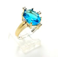 925 Sterling Silver Bronze Blue Aquamarine Handmade Women's Ring Size 8.25 USA