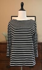 Land's End Women's Striped Navy Blue & White T-Shirt Boatneck 3/4 - Size Small