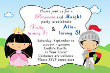 30 Princess Knight Invitation Cards Kids Birthday Party Storybook Custom A1