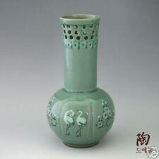 Green Porcelain Ceramic Flower Art Deco Pottery Vase