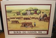 """GEORGE LYSTER """"AMISH WHEAT HARVEST AT BIRD IN HAND PA"""" HAND SIGNED LITHOGRAPH"""