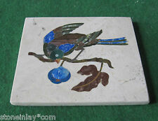 PIETRA DURA MARQUETRY MOSAIC INLAY MARBLE BIRD PLAQUE