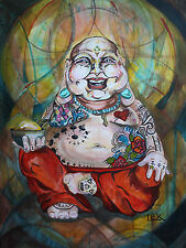 LEX outsider pop SuRReal Print  HAPPY TATTOOED BUDDHA meditation deity buddhism