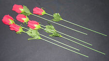 6 Silk Red Roses  14 Inch Long Single Stem, Silk Leaves