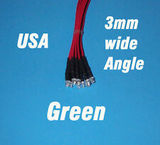 10 x LED - 3mm PRE WIRED 12 VOLT WIDE VIEW ANGLE GREEN 12V PREWIRED FLAT
