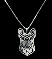 French Bulldog Silver Charm Pendant Necklace, Dog Lover, Friend Gift