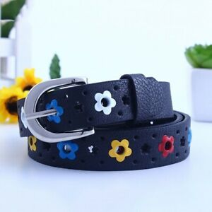 Tiny Flowers Buckle Leather Childrens Belt Hippie Daisy Floral Pattern Waistband