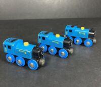 Brio Vintage Blue Wooden Steam Train Bundle x3 Made In Sweden Magnetic Toys Kids