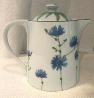 MIKASA WILD FLOWERS SL140 TEA POT TEAPOT W/ LID SERVER PORCELAIN BLUE FLORAL  EC