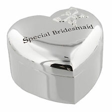 Special Bridesmaid Silverplated Heart Shaped Wedding Trinket Box
