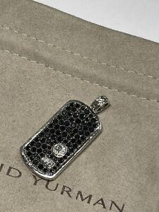 """David Yurman Men's Silver Pave Black Diamond Pendant Dog Tag DY 1.5"""""""