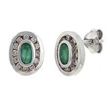 14k White Gold 0.24ctw Emerald and Diamond Bezel Stud Earrings