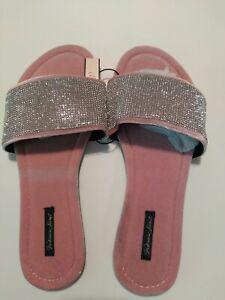 Victoria's Secret Embellished Pink Velvet Slides Rhinestones Large 9-10