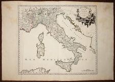 Carte géographique de l'Italie et routes des postes, par ROBERT DE VAUGONDY 1756