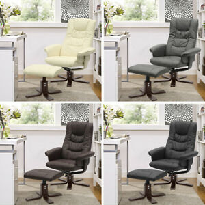 PU Leather Armchair Padded Recliner Swivel Single Sofa Chair w/ Footstool Office