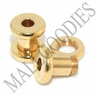 1487 Screw on/fit Steel Anodized Gold Tunnels Earlets Ear Plugs 6 Gauge 6G 4mm
