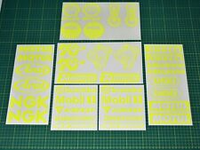 36 Motorbike Belly Pan Decal Sponsor Stickers Set - FLUORESCENT YELLOW Swing Arm