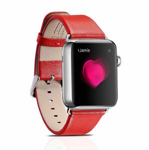 Authentic ICarer Luxury Leather Watchban for 42mm Apple Watch RED H1072